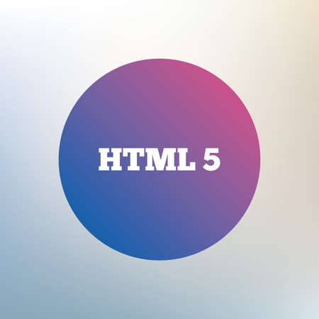 html5: HTML5 sign icon. New Markup language symbol. Icon on blurred background. Vector Illustration