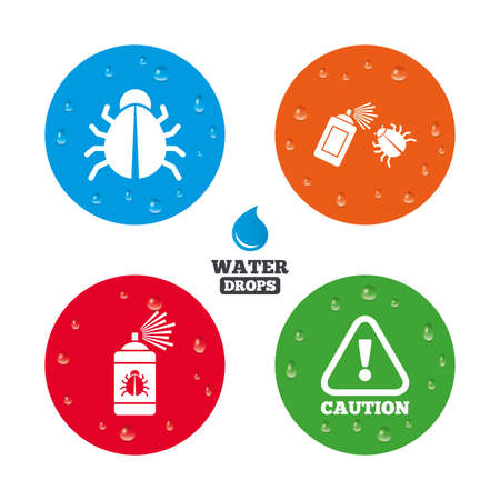 acarus: Water drops on button. Bug disinfection icons. Caution attention symbol. Insect fumigation spray sign. Realistic pure raindrops on circles. Vector