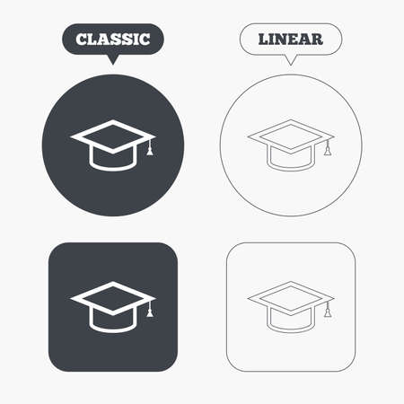 higher: Graduation cap sign icon. Higher education symbol. Classic and line web buttons. Circles and squares. Vector Illustration