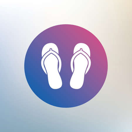 flipflops: Flip-flops sign icon. Beach shoes. Sand sandals. Icon on blurred background. Vector