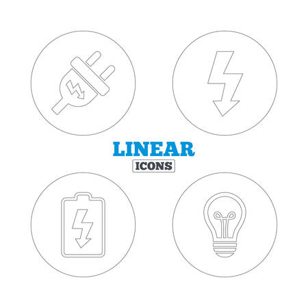 spiral cord: Electric plug icon. Lamp bulb and battery symbols. Low electricity and idea signs. Linear outline web icons. Vector Illustration
