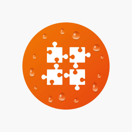 ingenuity: Water drops on button. Puzzles pieces sign icon. Strategy symbol. Ingenuity test game. Realistic pure raindrops. Orange circle. Vector