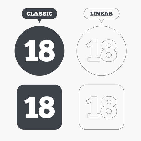 18 years old: 18 years old sign. Adults content icon. Classic and line web buttons. Circles and squares. Vector