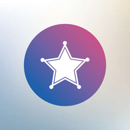 police: Star Sheriff sign icon. Police button. Sheriff symbol. Icon on blurred background. Vector