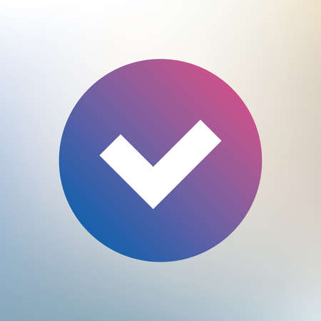 yes button: Check sign icon. Yes button. Icon on blurred background. Vector