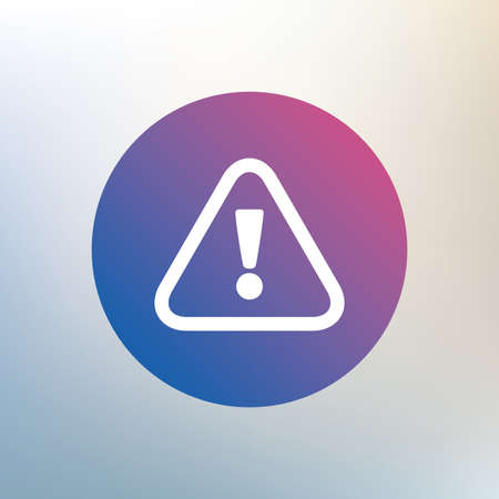 hazard sign: Attention sign icon. Exclamation mark. Hazard warning symbol. Icon on blurred background. Vector