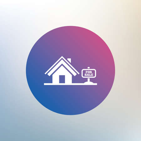 broker: Home sign icon. House for sale. Broker symbol. Icon on blurred background. Vector