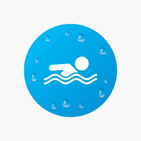 Waterdruppels op de knop. Pictogram zwemmen. Zwembad zwem symbool. Zee Golf. Realistische pure regendruppels. Blauwe cirkel. Vector Stock Illustratie