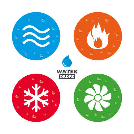 heating: Water drops on button. HVAC icons. Heating, ventilating and air conditioning symbols. Water supply. Climate control technology signs. Realistic pure raindrops on circles. Vector