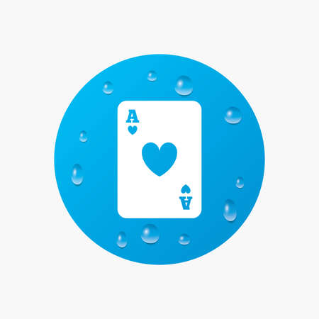 ace of hearts: Water drops on button. Casino sign icon. Playing card symbol. Ace of hearts. Realistic pure raindrops. Blue circle. Vector