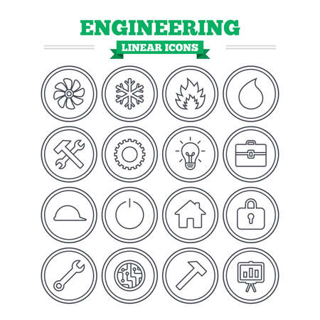 lamp house: Engineering linear icons set. Ventilation, heat and air conditioning symbols. Water supply, repair service and circuit board thin outline signs. Lamp, house and locker. Flat vector Illustration