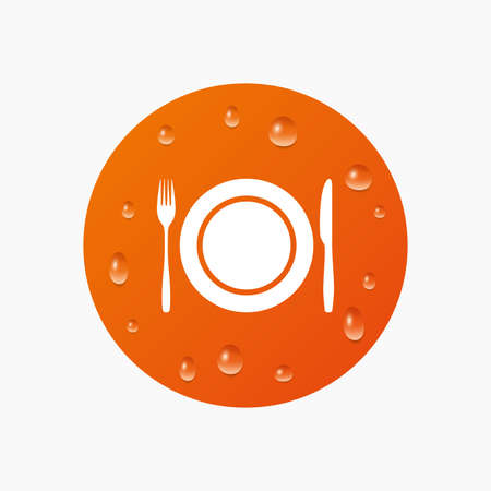 etiquette: Water drops on button. Plate dish with fork and knife. Eat sign icon. Cutlery etiquette rules symbol. Realistic pure raindrops. Orange circle. Vector Illustration