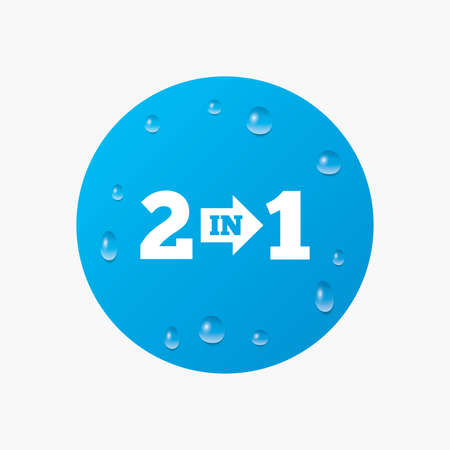 complement: Water drops on button. Two in one suite sign icon. 2 in 1 symbol with arrow. Realistic pure raindrops. Blue circle. Vector