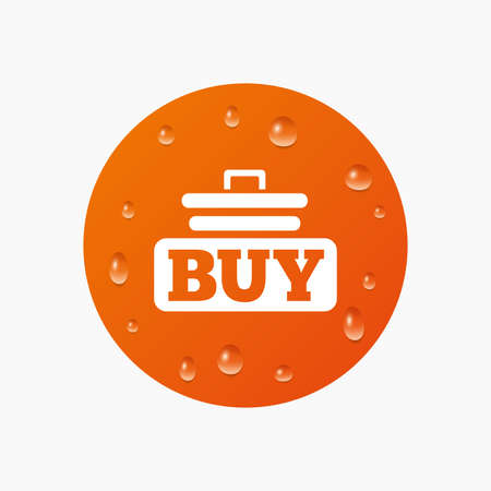 Water drops on button. Buy sign icon. Online buying cart button. Realistic pure raindrops. Orange circle. Vector