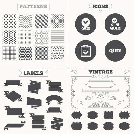 feedback form: Seamless patterns. Sale tags labels. Quiz icons. Checklist with check mark symbol. Survey poll or questionnaire feedback form sign. Vintage decoration. Vector