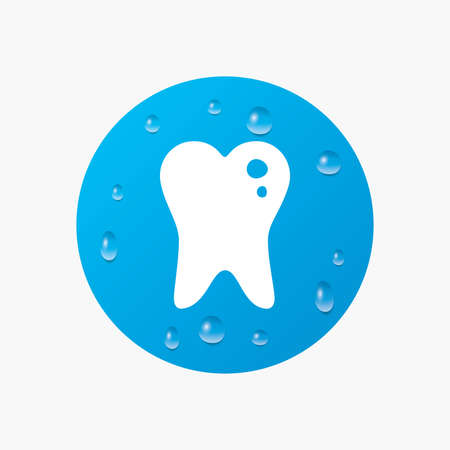 stomatologist: Water drops on button. Caries tooth icon. Tooth filling sign. Dental care symbol. Realistic pure raindrops. Blue circle. Vector