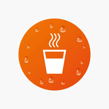 evaporation: Water drops on button. Hot water sign icon. Hot drink glass symbol. Realistic pure raindrops. Orange circle. Vector Illustration