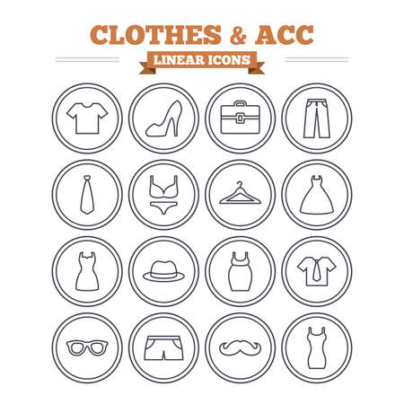 shirt hanger: Clothes and accessories linear icons set. Shirt with tie, pants and woman dress symbols. Hat, hanger and glasses thin outline signs. Underwear and maternity clothes. Flat vector Illustration