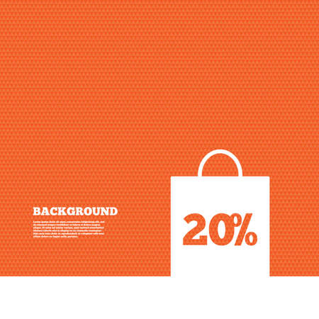 offer icon: Background with seamless pattern. 20% sale bag tag sign icon. Discount symbol. Special offer label. Triangles orange texture. Vector