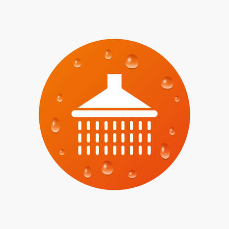 washstand: Water drops on button. Shower sign icon. Douche with water drops symbol. Realistic pure raindrops. Orange circle. Vector