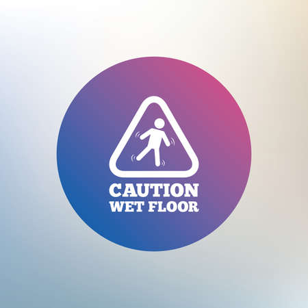 wet floor sign: Caution wet floor sign icon. Human falling triangle symbol. Icon on blurred background. Vector