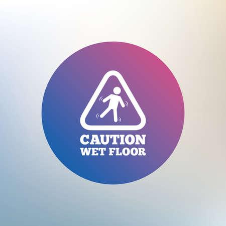 wet floor caution sign: Precauci�n mojada icono de se�alizaci�n en el suelo. Caer humano s�mbolo tri�ngulo. Icono en el fondo borroso. Vector Vectores