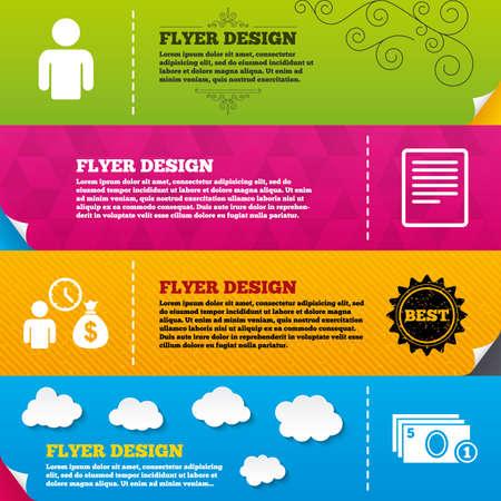 cash money: Flyer brochure designs. Bank loans icons. Cash money bag symbol. Apply for credit sign. Fill document and get cash money. Frame design templates. Vector Illustration