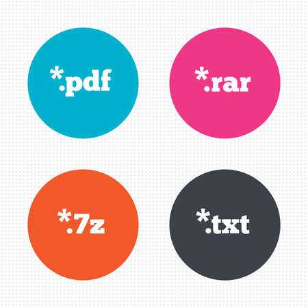 txt: Circle buttons. Document icons. File extensions symbols. PDF, RAR, 7z and TXT signs. Seamless squares texture. Vector