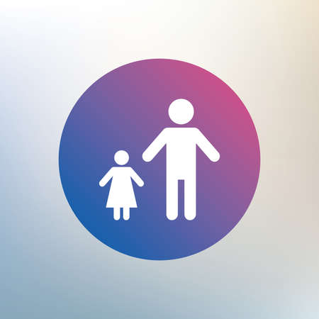 family with one child: One-parent family with one child sign icon. Father with daughter symbol. Icon on blurred background. Vector