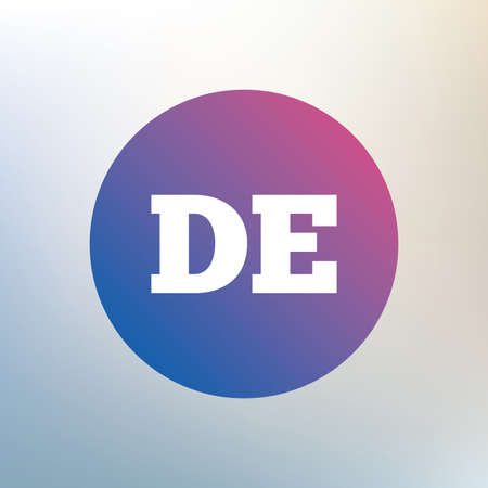 deutschland: German language sign icon. DE Deutschland translation symbol. Icon on blurred background. Vector