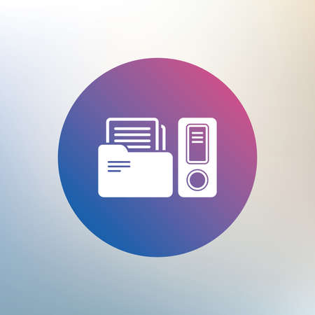 bookkeeping: Document folder sign. Accounting binder symbol. Bookkeeping management. Icon on blurred background. Vector