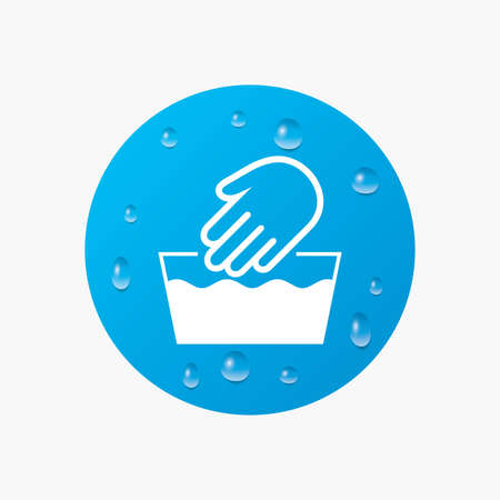 washable: Water drops on button. Hand wash sign icon. Not machine washable symbol. Realistic pure raindrops. Blue circle. Vector