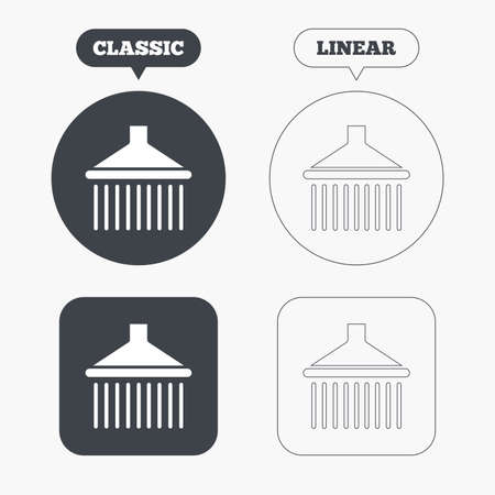 washstand: Shower sign icon. Douche with water drops symbol. Classic and line web buttons. Circles and squares. Vector Illustration
