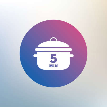boil: Boil 5 minutes. Cooking pan sign icon. Stew food symbol. Icon on blurred background. Vector
