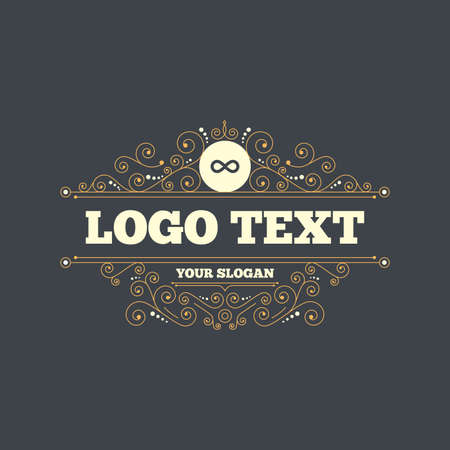 eternally: Limitless sign icon. Infinity symbol. Flourishes calligraphic ornament. Vector Illustration