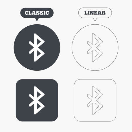 bluetooth: Bluetooth sign icon. Mobile network symbol. Data transfer. Classic and line web buttons. Circles and squares. Vector