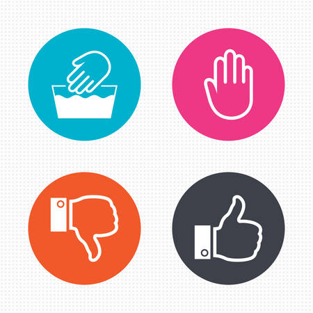 thumbs up: Circle buttons. Hand icons. Like and dislike thumb up symbols. Not machine washable sign. Stop no entry. Seamless squares texture. Vector Illustration