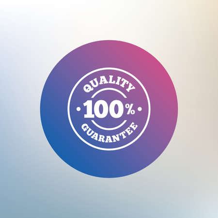 quality guarantee: 100% quality guarantee sign icon. Premium quality symbol. Icon on blurred background. Vector Illustration