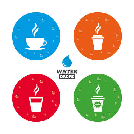 takeout: Water drops on button. Coffee cup icon. Hot drinks glasses symbols. Take away or take-out tea beverage signs. Realistic pure raindrops on circles. Vector Illustration
