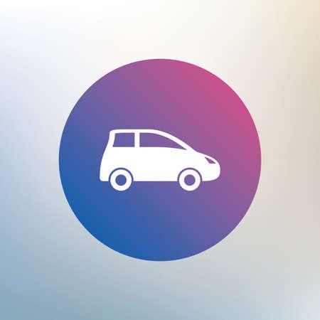 hatchback: Car sign icon. Hatchback symbol. Transport. Icon on blurred background. Vector Illustration