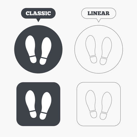 shoe print: Imprint soles shoes sign icon. Shoe print symbol. Classic and line web buttons. Circles and squares. Vector