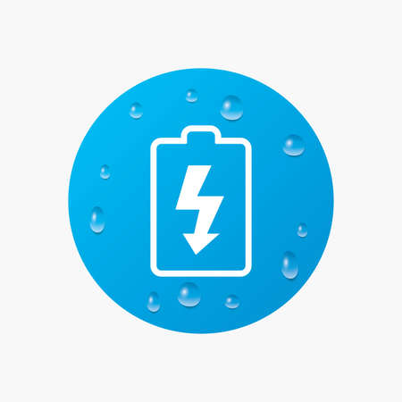 Water drops on button. Battery charging sign icon. Lightning symbol. Realistic pure raindrops. Blue circle. Vector