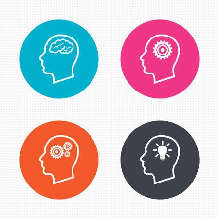 원 버튼. 두뇌와 아이디어 램프 전구 아이콘 머리. 남성 인간의 생각 기호. 톱니 바퀴 기어 표지판. 원활한 사각형 질감. 벡터