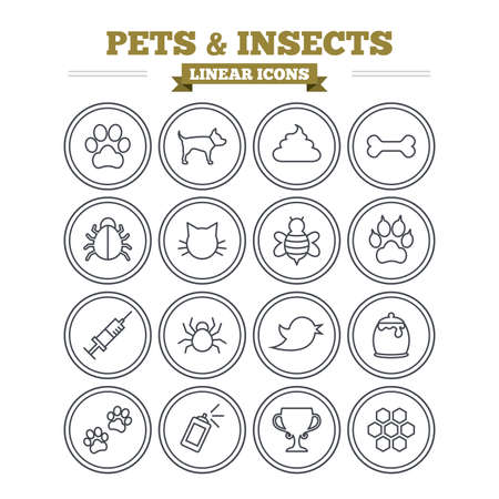 syringe inoculation: Pets and Insects linear icons set. Dog paw. Cat paw with clutches. Bone, feces excrement and vaccination. Honey, bee and honey comb. Thin outline signs. Flat vector