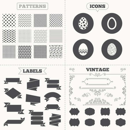 pasch: Seamless patterns. Sale tags labels. Easter eggs icons. Circles and floral patterns symbols. Tradition Pasch signs. Vintage decoration. Vector
