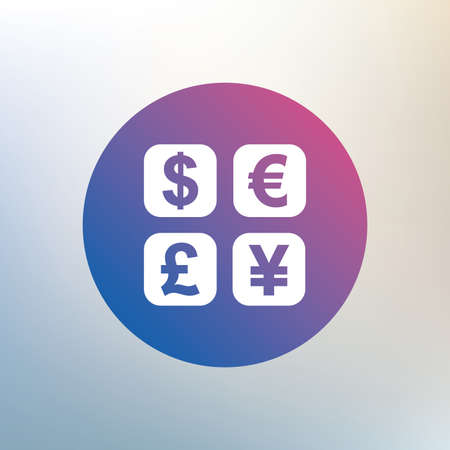 currency converter: Currency exchange sign icon. Currency converter symbol. Money label. Icon on blurred background. Vector