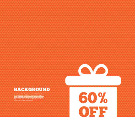 orange texture: Background with seamless pattern. 60% sale gift box tag sign icon. Discount symbol. Special offer label. Triangles orange texture. Vector Illustration