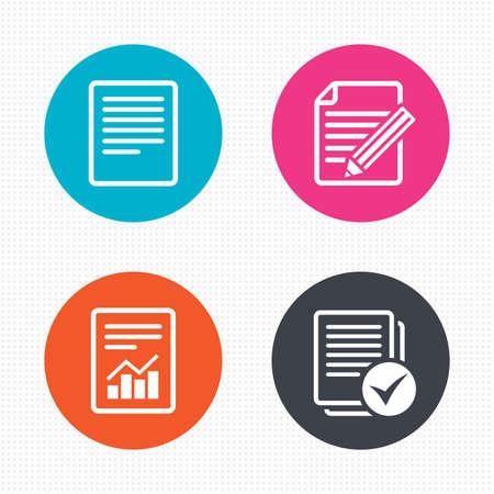 Botones circulares. Iconos de documentos de archivo. Documento con tabla o símbolo gráfico. Editar contenido con signo de lápiz. Seleccionar archivo con casilla de verificación. Textura de cuadrados sin fisuras. Vector Ilustración de vector