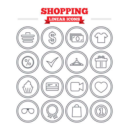 credit cart: Shopping linear icons set. Shopping cart, dollar currency and cash money. Shirt clothes, gift box and hanger. Credit or debit card. Thin outline signs. Flat vector