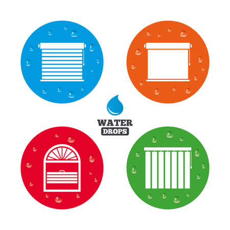 roll curtains: Water drops on button. Louvers icons. Plisse, rolls, vertical and horizontal. Window blinds or jalousie symbols. Realistic pure raindrops on circles. Vector